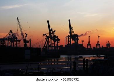 Harbor in the dawn / Hamburg