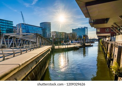 The Harbor District (HafenCity) in Hamburg, Germany. A view of the Sandtorkai on a sunny day.