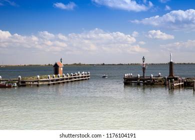 harbor entrance of the small harbor of Volendam, Markermeer, Holland, Netherlands