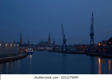 The harbor in Lübeck in the evening