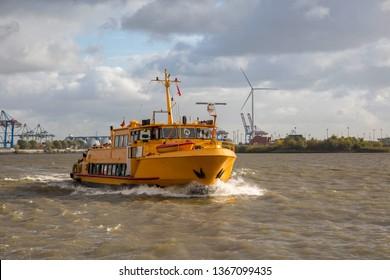 Harbor ferry in the port of Hamburg