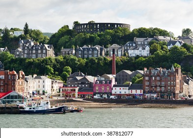 The harbor front of the city of Oban on the westcoast of Scotland during summertime