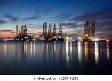 Harbor in Galveston at evening. Galveston, Texas, USA.