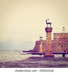 Harbor Gates and Lighthouse in Rhodes, Instagram Effect