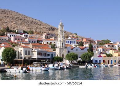 the harbor of the greek island Chalki
