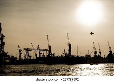 Harbor of Hamburg in Germany, Europe