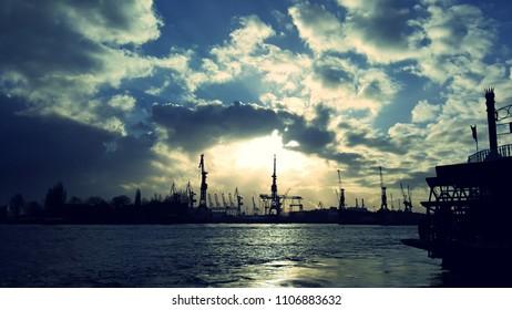 harbor of hamburg at sunset
