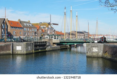 Harbor in the historic city center of Hellevoetsluis, South Holland province, the Netherlands.