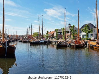 Harbor from historical Spakenburg in the countryside from the Netherlands