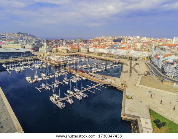 Harbor in La Coruna, city of Galicia,Spain. Drone Shoot