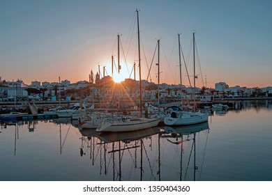 The harbor from Lagos in the Algarve Portugal at sunset