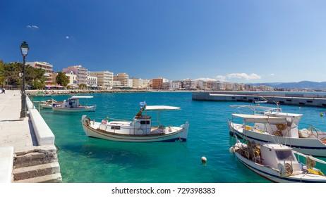 The harbor of Loutraki town, Corinthia, Greece.
