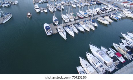 harbor with luxury boats in Athens from above