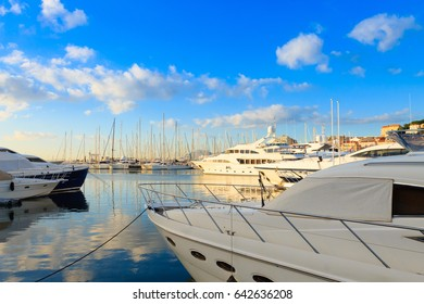 Harbor and marina at Cannes, French Riviera, France. Luxury boats.