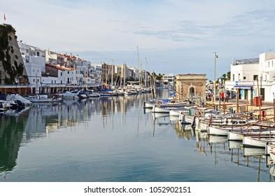 Harbor and marina at Ciutadela de Menorca on the island of Menorca.