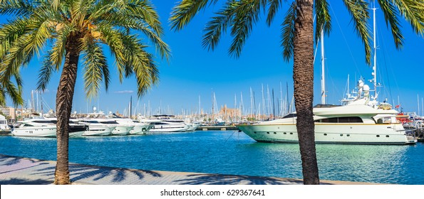 Harbor Marina of Palma de Majorca, Spain Mediterranean Sea, Balearic Islands.