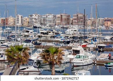 The harbor and marina of Torrevieja on the Costa Blanca, Spain.