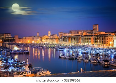 Harbor of Marseille at night, Provence, France