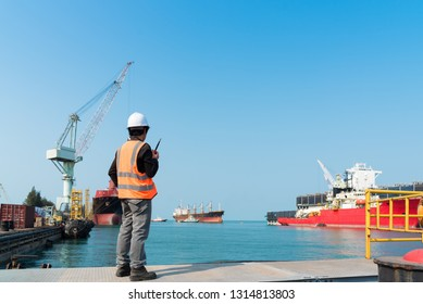 Harbor master supervisor is survey and inspection of the safty berthing along side of the ship vessel mooring in port terminal