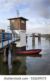 Harbor of Moerdijk with a small building in the Netherlands