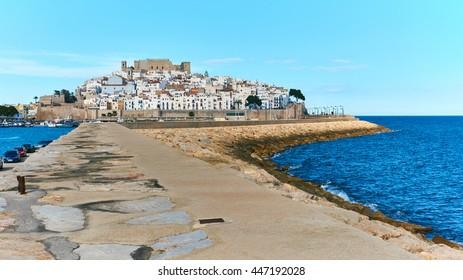 Harbor and old town of Peniscola. Costa del Azahar, province of Castellon, Valencian Community. Spain
