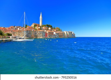 Harbor of the old town of Rovinj, Croatia