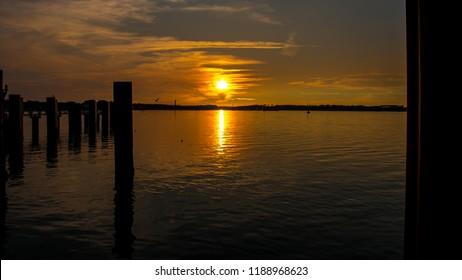 Harbor on Amrum in Sunset