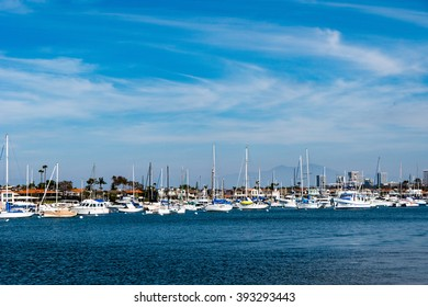 harbor overview with yacht and blue sky