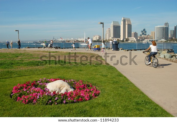 Harbor & park scene; San Diego, California