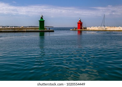 Harbor in Piran. It is one of the main tourist attractions of Slovenia on a sunny day. Slovenia, the Adriatic coast.