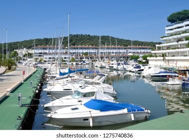 Harbor of Platja d`Aro at Costa Brava,Catalonia,mediterranean Sea,Spain