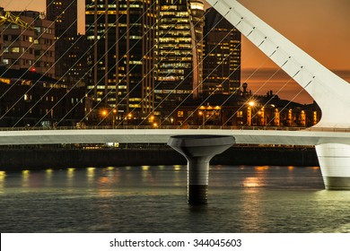Harbor Puerto Madero at night Buenos Aires Argentine, skyline and ships
