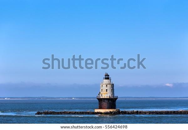 Harbor of Refuge Light Lighthouse in the Delaware Bay at Cape Henlopen. It was originally named Harbor of Refuge West End Light when first completed in 1969.