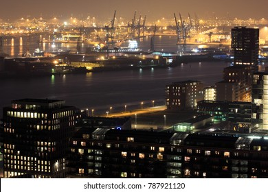 Harbor of Rotterdam at night, The Netherlands