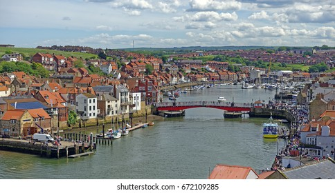 Harbor scene at the popular tourist town of Whitby, North Yorkshire, England