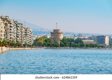 The harbor, seafront and White Tower in Thessaloniki. Macedonia, Greece