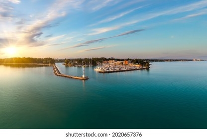 Harbor of Siofok in Hungary. Amazing panoramic ladscape about the lake Balaton with the Siofok harbor. Lake Balaton is the Hungarian sea.