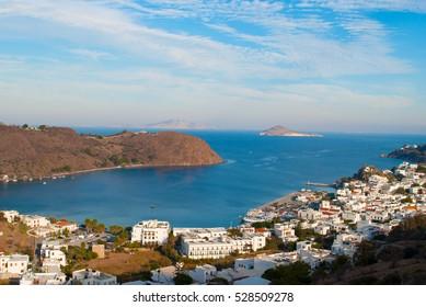 The harbor of Skala on the Island of Patmos, Greece