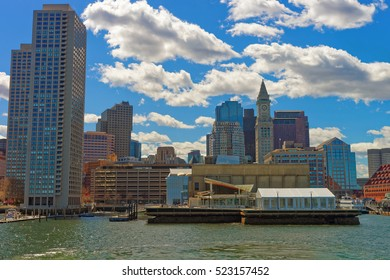 Harbor and the skyline of the Financial District in Boston, the United States. It is one of the oldest cities in USA. Boston was founded in 1630 by the Puritan immigrants who came from England.