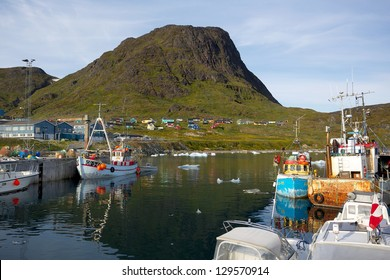 The harbor in the small city Narsaq in South Greenland