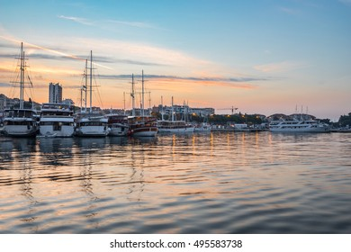 Harbor in Split, Croatia with yachts at sunrise