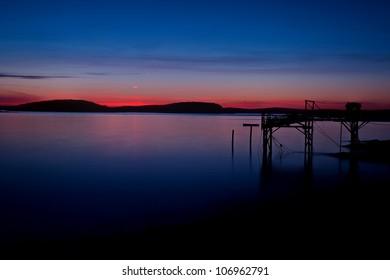 Harbor Sunrise in Bar Harbor, Maine overlooking Frenchman�s Bay