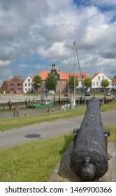 Harbor of Toenning at Eider River in North Frisia,Schleswig-Holstein,Germany
