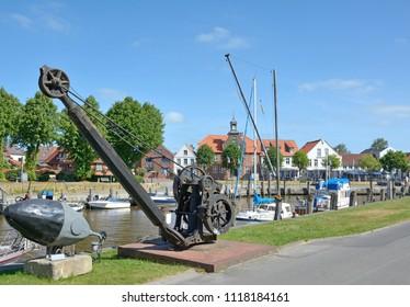 Harbor of Toenning at North Sea on Eiderstedt Peninsula,Schleswig-Holstein,Germany