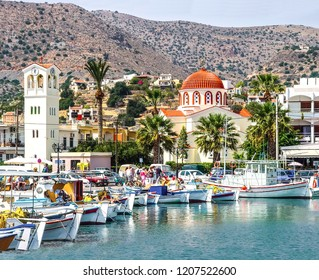 Harbor town of Elounda on the island of Crete. Greece