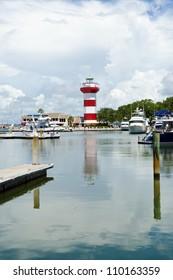 Harbor Town lighthouse and marina. Hilton Head Island, SC