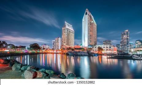 Harbor view of down town San Diego during blue hour with a glimpse of sea port village on the left