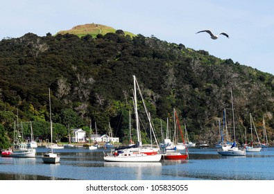 Harbor view of Mangonui, Northland, New Zealand.