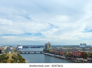 Harbor view of Tampa, Florida from high up, with ocean liner, marina, condos and river walk