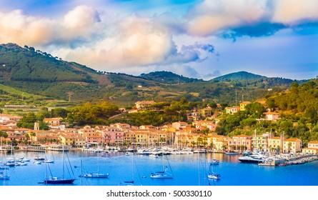 Harbor and village  Porto Azzurro at sunset, Elba islands, Tuscany, Italy